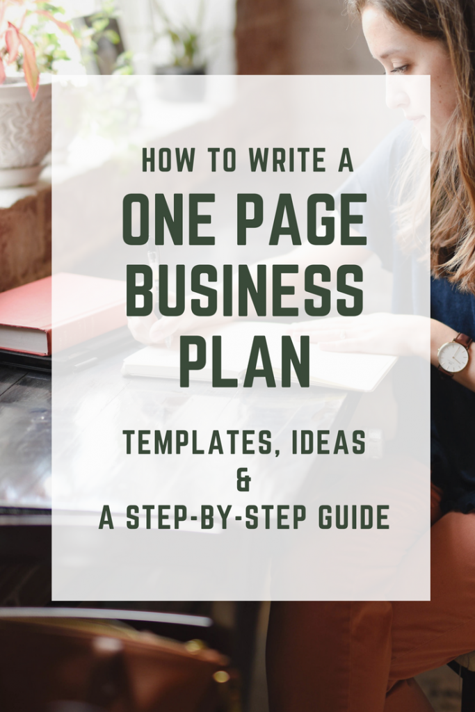 One Page Business Plan template Pinterest Pin