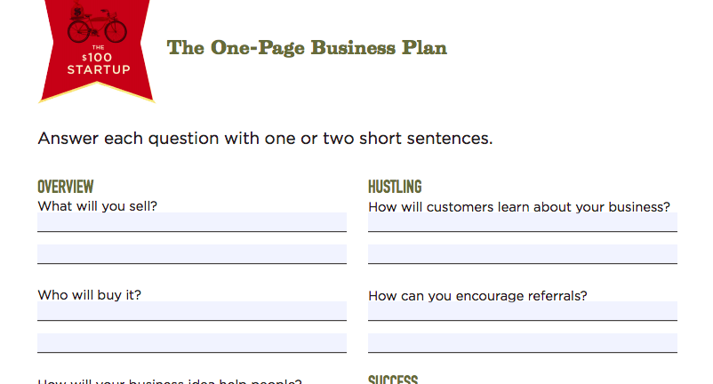 How to write a One Page Business Plan: templates, ideas, and a step ...