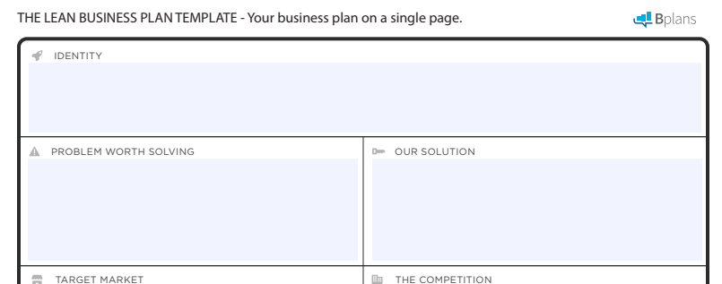 one page business plan template - bplans