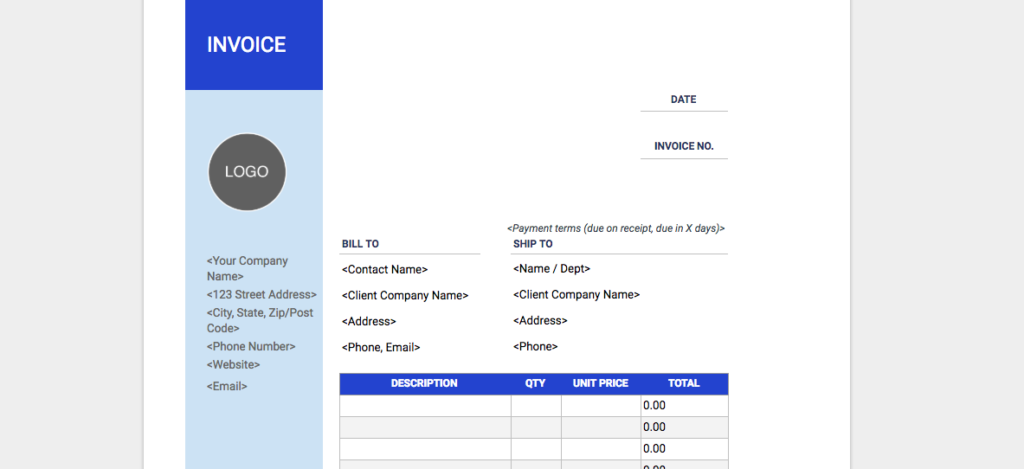 Freelance Invoice Template Blue Sidebar Design