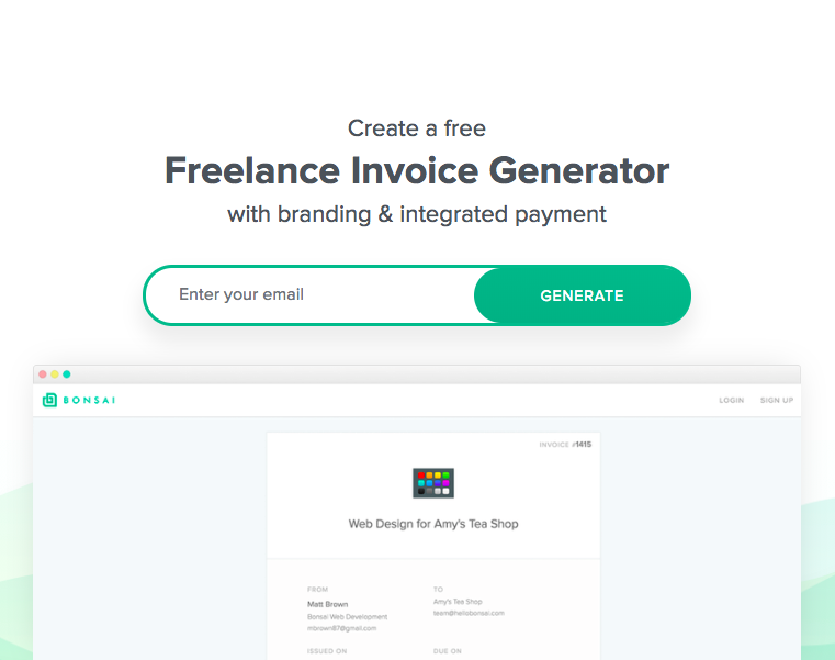 Freelance Invoice Template Generator Bonsai