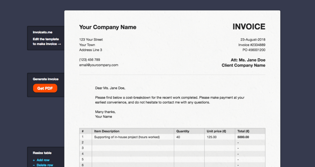 Freelance Invoice Template Generator Invoicely