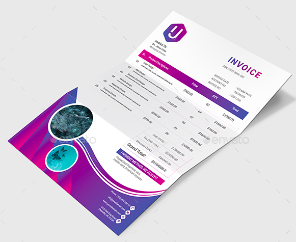 Freelance Invoice Template Professional Design Purple