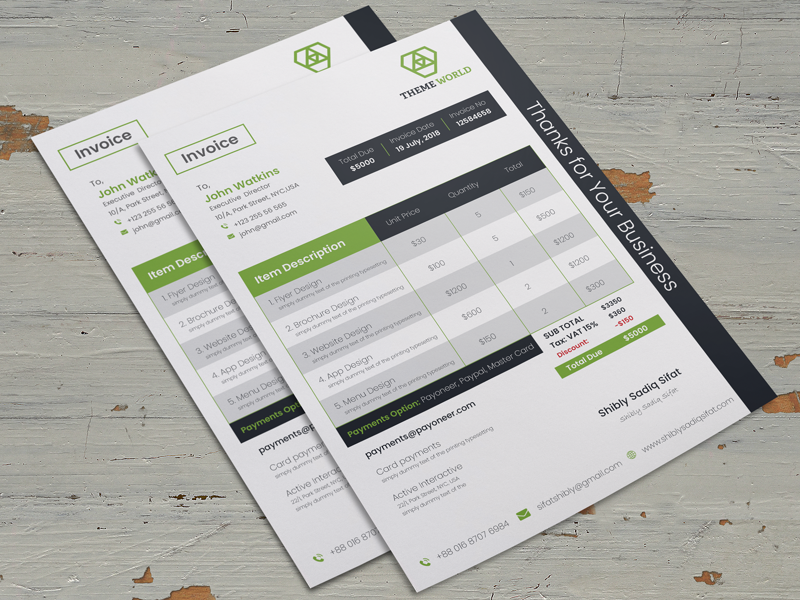 6 free graphic design invoice templates