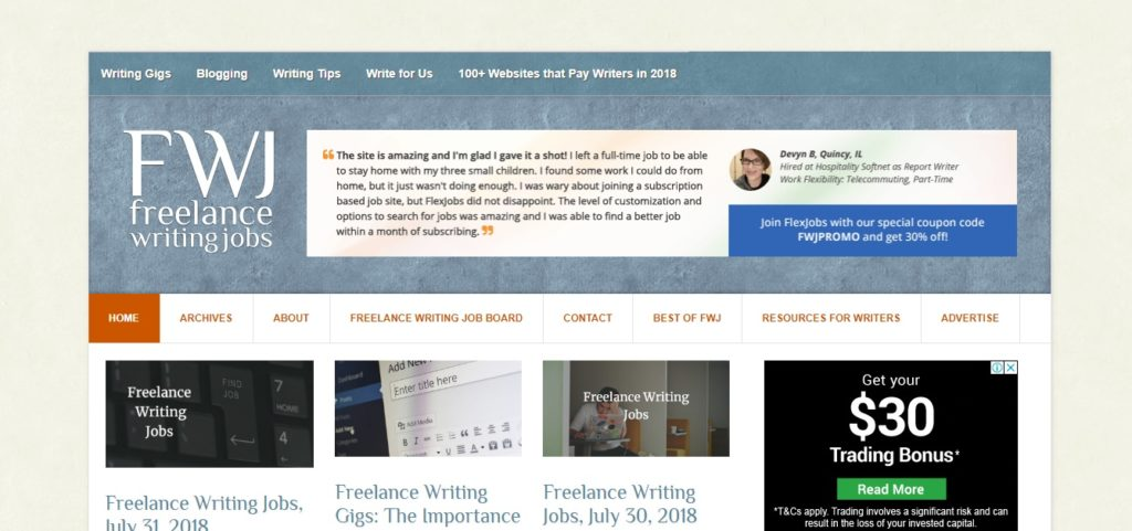 Freelance writing gigs for beginning writers on FWJ
