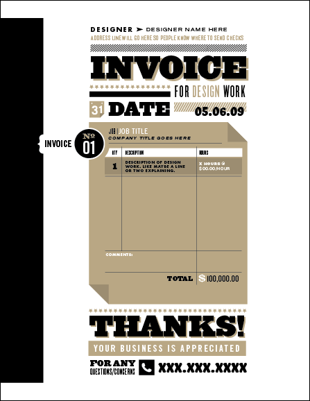 Graphic design invoice - go all out