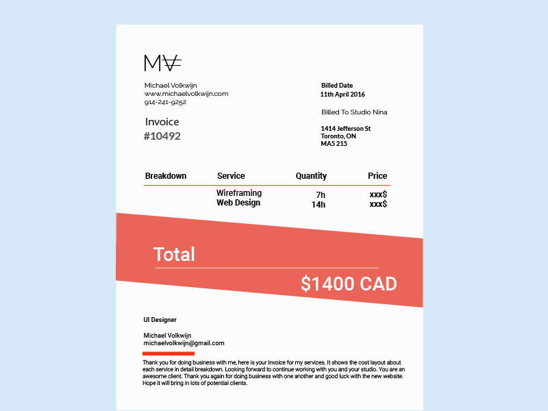 Graphic Design Invoice - Get creative