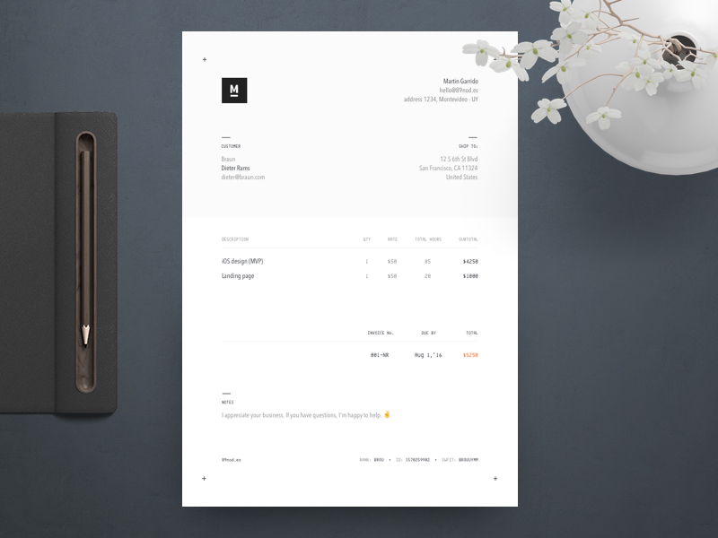 Graphic Design Invoice - Keep it modern