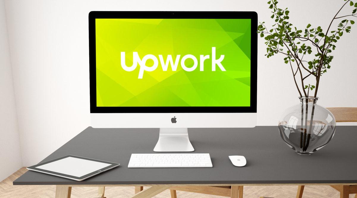 Freelance Site Upwork Logo on Computer