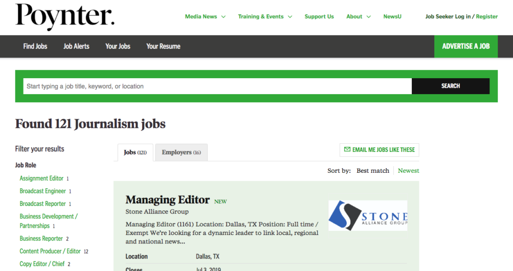 Remote Writing Jobs for Journalists on Poynter's job board