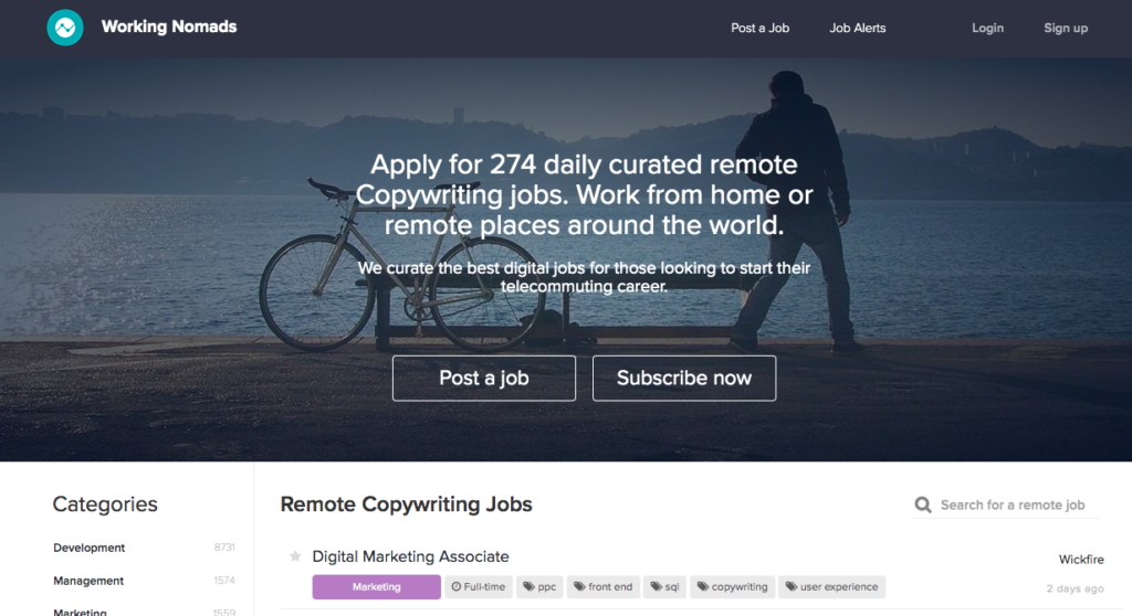 Freelance Writing Jobs by Working Nomads
