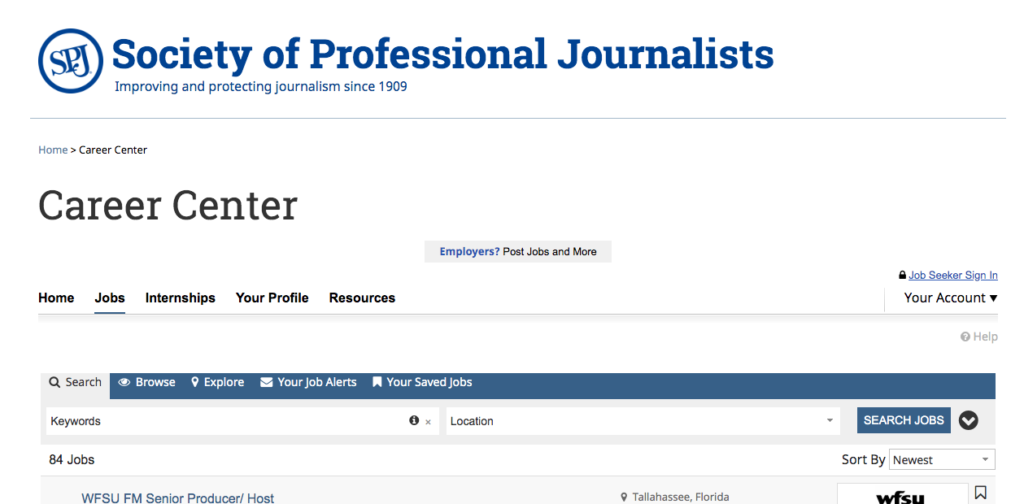 Remote Writing Jobs from the society of professional journalists