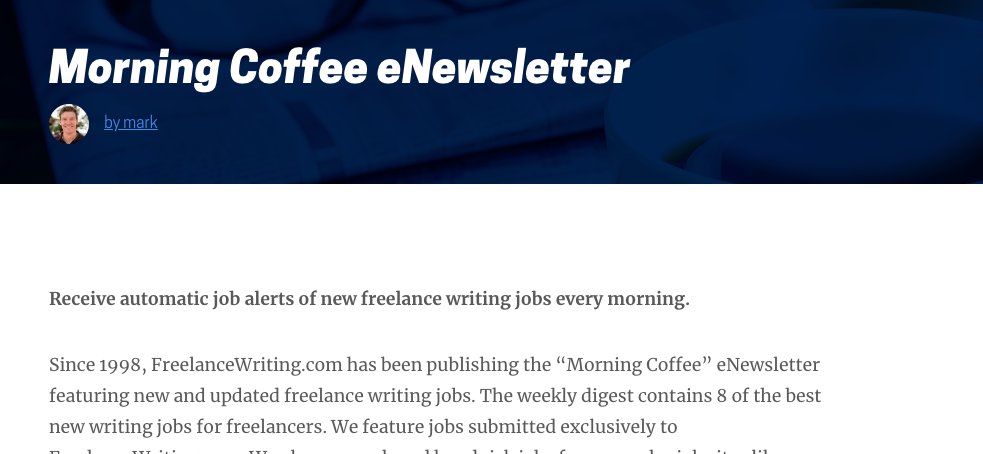 Freelance Writing Jobs for Beginners in the Morning Coffee Newsletter