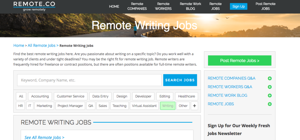 Remote Writing Jobs on Remote.co
