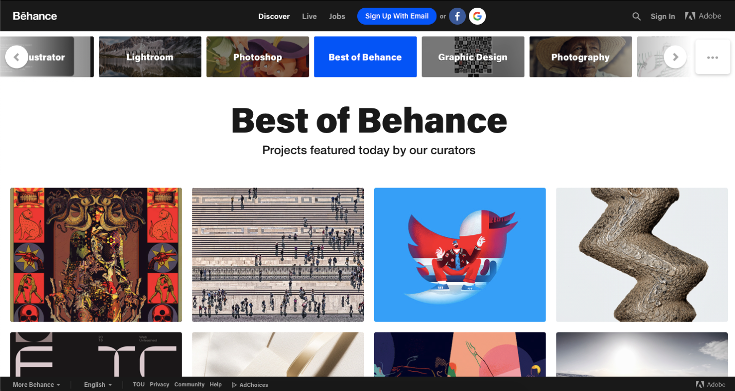 Behance is a platform for finidng freelance graphic design jobs