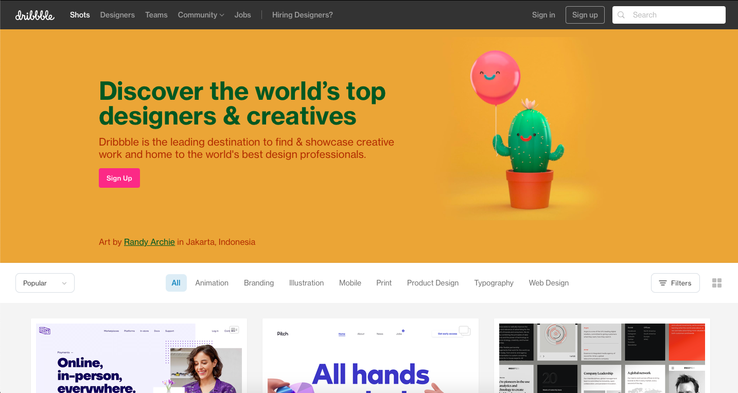 Dribble is a platform for finidng freelance graphic design jobs