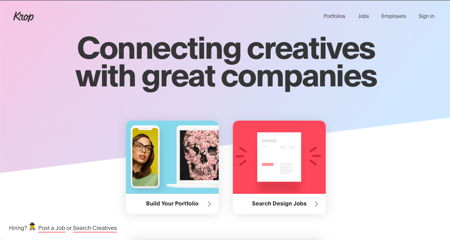Krop is a platform for finidng freelance graphic design jobs