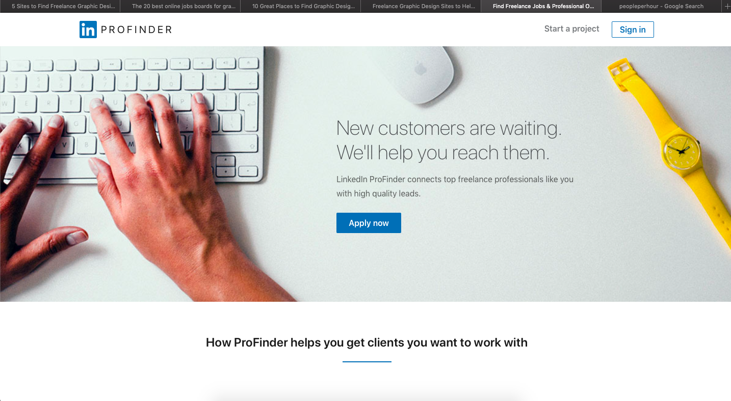 LinkedIn ProFinder is a platform for finidng freelance graphic design jobs
