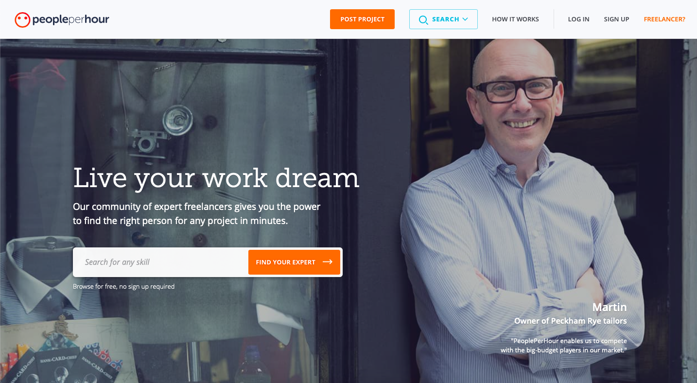 PeoplePerHour is a platform for finidng freelance graphic design jobs