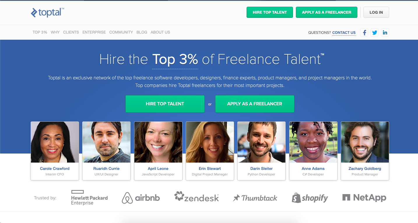 Toptal is a platform for finidng freelance graphic design jobs