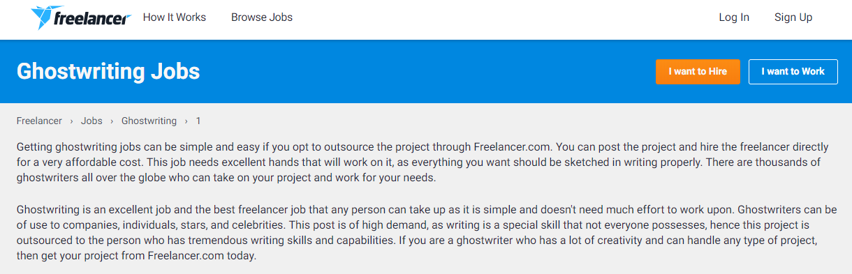 ghostwriting jobs sites - freelancer
