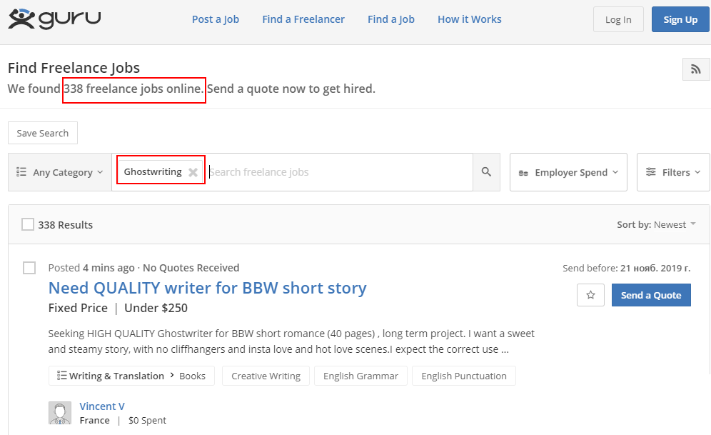 ghostwriting jobs sites - guru