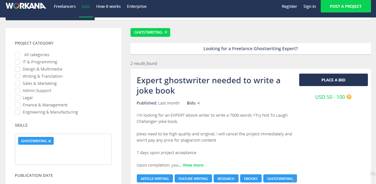 ghostwriting jobs sites - workana