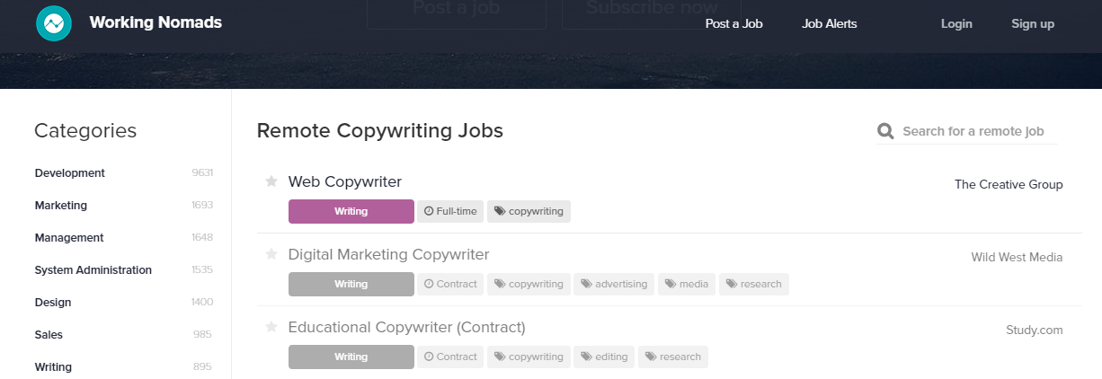 ghostwriting jobs sites - working nomads