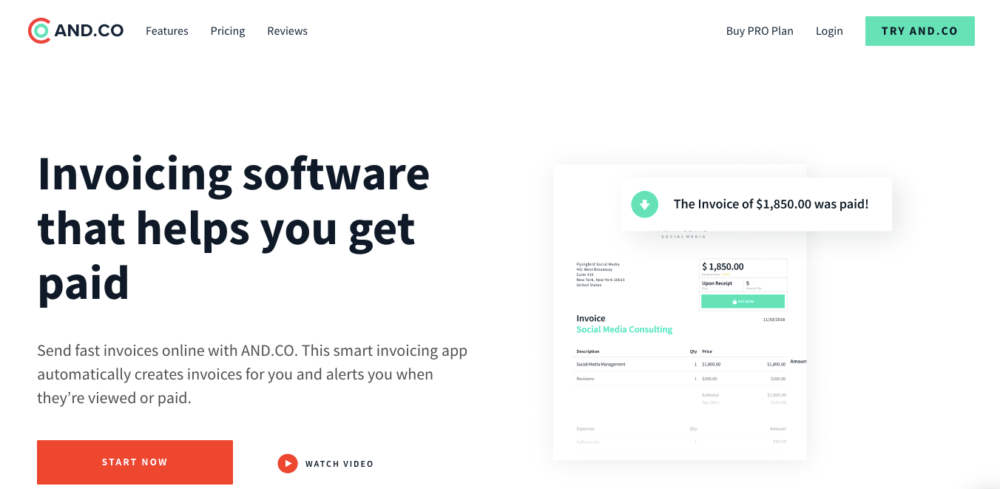 best invoice software - andco
