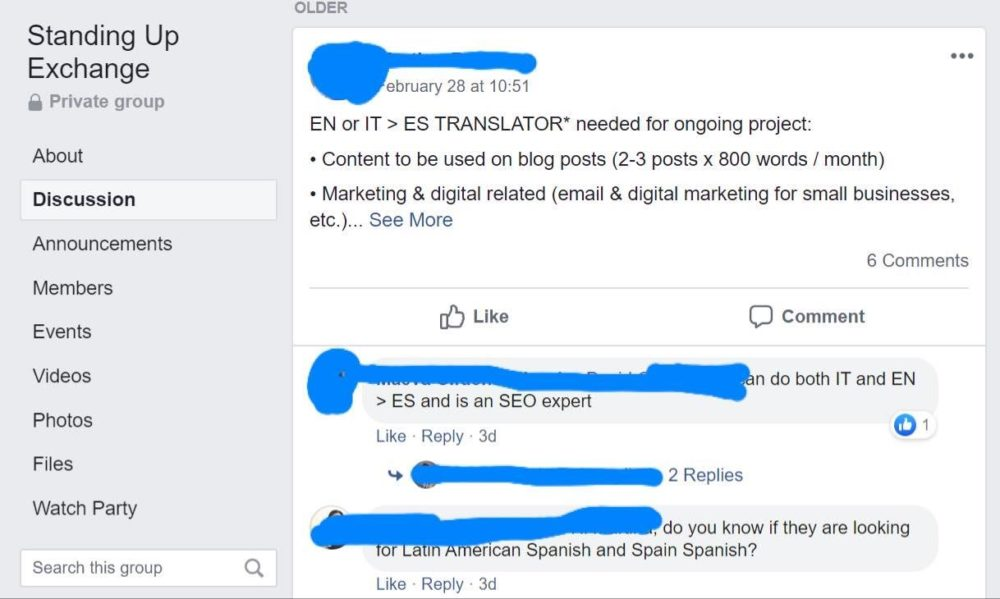 freelance translation jobs - facebook