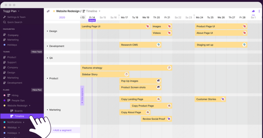 project management software - toggl plan