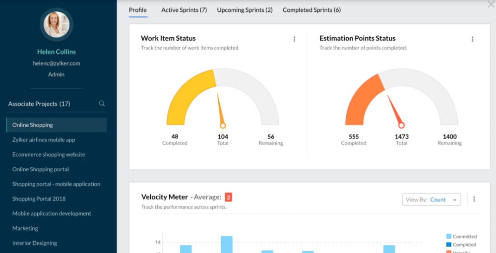 project management software - Zoho spirits
