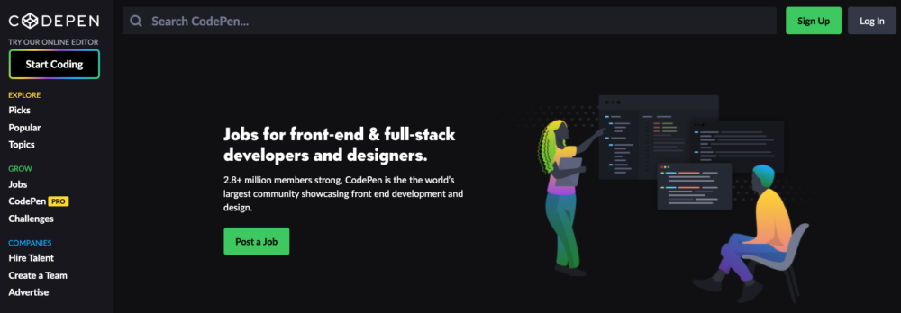 freelance web developer jobs - codepen
