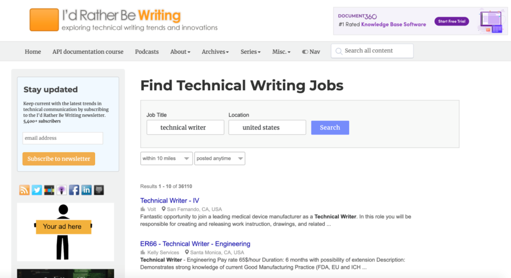 technical writer jobs - id rather be writing