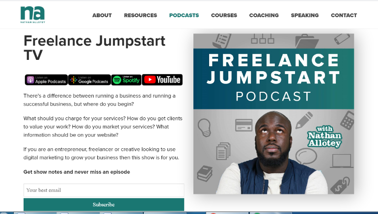 podcasts for freelancers- Freelance Jumpstart TV