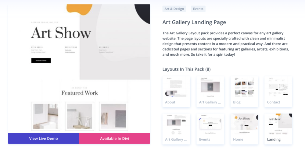 wordpress themes for artists - divi