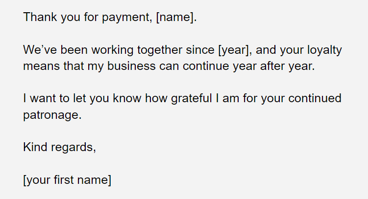 thank you for your payment